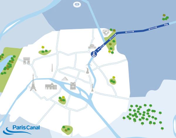 Itinéraire croisière canal de l'Ourcq