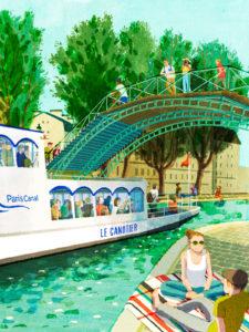 Une belle illustration du bateau le Canotier de Paris Canal par l'artiste japonaise HifuMiyo
